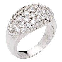 1.50ct Pave Diamond Dome Ring Estate 18 Karat White Gold Vintage Fine Jewelry 4.5