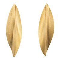 """18 Karat Gold Leaf Earrings Long 2"""" Drops Vintage Fine Estate Jewelry Matte Finish"""