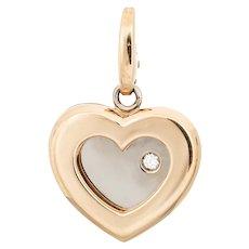 Limited Edition Cartier Diamond Heart Pendant Charm 18 Karat Yellow Gold Jewelry