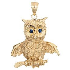 Large Owl Pendant Vintage 14 Karat Yellow Gold Sapphire Eyes Fine Estate Jewelry
