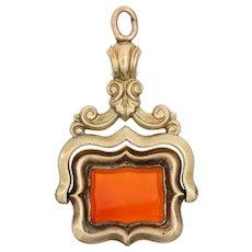 Antique Victorian Spinning Fob 14 Karat Yellow Gold Carnelian Charm Pendant Jewelry