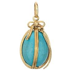 Tiffany & Co Schlumberger Turquoise Egg Charm Estate 18 Karat Yellow Gold Pendant