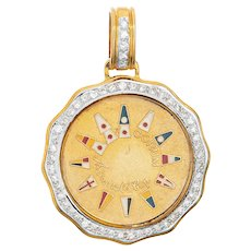 Corum Admirals Cup Diamond Pendant 18 Karat Yellow Gold Charm Nautical Jewelry