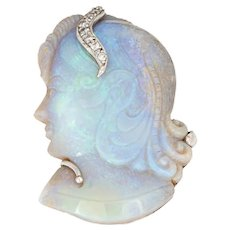 Carved Natural Opal Pendant Portrait of a Woman Diamond 14 Karat White Gold Estate
