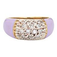 Lilac Enamel Diamond Ring Vintage 18 Karat Yellow Gold Band Sz 5.5 Estate Jewelry