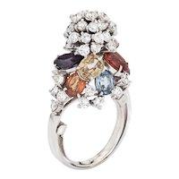 Colored Sapphire Diamond Snow Cone Ring Vintage 18 Karat White Gold Cocktail Jewelry