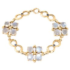 "Tiffany & Co Moonstone Sapphire Bracelet Retro Vintage 14 Karat Gold Signed 7.5"""