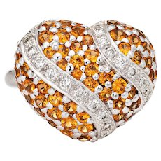 Spessartite Orange Garnet Diamond Heart Ring 18 Karat Gold Dome Cocktail Vintage