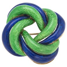 Vintage Infinity Brooch 18 Karat Yellow Gold Guilloche Enamel Green Blue Fine Jewelry