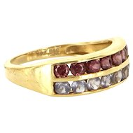Estate 14 Karat Yellow Gold Pink Tourmaline Tanzanite Stack Band Ring Pre-Owned