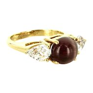 Estate Designer Hubert 14 Karat Yellow Gold Cats Eye Tourmaline Sapphire Ring