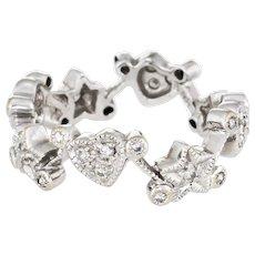 Heart Star Diamond Ring Sz 5.5 Eternity Band Estate 18 Karat White Gold Fine Jewelry