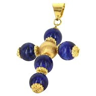 Estate 18 Karat Yellow Gold Lapis Lazuli Religious Cross Pendant Fine Jewelry