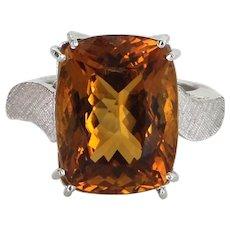 Citrine Cocktail Ring Vintage 14 Karat Gold 950 Platinum Arthritic Band Estate Jewelry