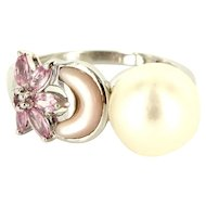 Estate 10 Karat White Gold Cultured Pearl Pink Topaz Inlaid Mother Of Pearl Ring