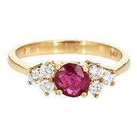 Ruby Diamond Ring Vintage 14 Karat Yellow Gold Estate Gemstone Engagement Sz 6.