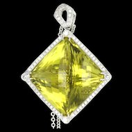Estate 14 Karat White Gold Diamond Lemon Citrine Large Cocktail Pendant Necklace