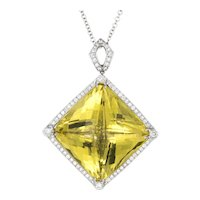 Huge 96ct Lemon Quartz Diamond Pendant 14 Karat White Gold Estate Fine Jewelry