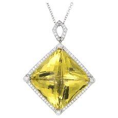 Huge 96ct Lemon Quartz Diamond Pendant 14 Karat White Gold Estate Fine Jewelry