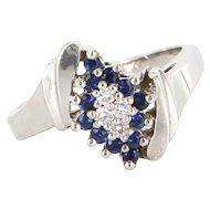 Vintage 14 Karat White Gold Diamond Sapphire Cocktail Ring Fine Estate Jewelry