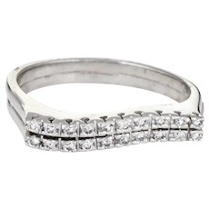 Set of 2 Diamond Wave Rings Vintage 14 Karat White Gold Estate Fine Jewelry Sz 8.25