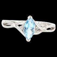 Estate 10 Karat White Gold Diamond Blue Topaz Right Hand Ring Fine Jewelry