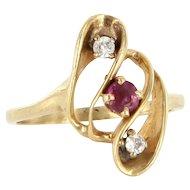 Vintage 14 Karat Yellow Gold Ruby Diamond Small Cocktail Ring Fine Jewelry