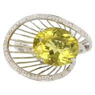 Estate 14 Karat White Gold Lemon Quartz Diamond Cocktail Ring Fine Jewelry