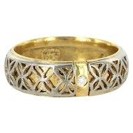Vintage 18 Karat Yellow White Gold Diamond Wedding Band Ring Size 12