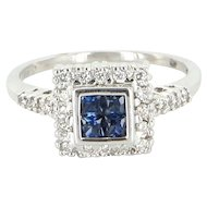 Estate 14 Karat White Gold Diamond Sapphire Square Small Cocktail Ring