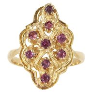 Vintage 14 Karat Yellow Gold Ruby Cocktail Ring Fine Estate Jewelry