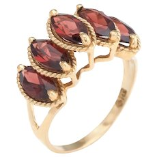 Vintage Garnet Ring Graduated 14 Karatk Yellow Gold Marquise Cut Estate Fine Jewelry