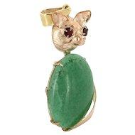 Retro Vintage 14 Karat Yellow Gold Garnet Jade Kitty Cat Animal Pendant