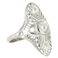 Art Deco 900 Platinum Diamond Filigree Cocktail Ring Fine Vintage Jewelry