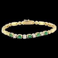 Vintage 14 Karat Yellow Gold Diamond Emerald Tennis Line Cocktail Bracelet