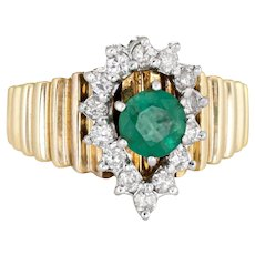 Emerald Diamond Ring 70s Vintage 14 Karat Yellow Gold Pear Estate Fine Jewelry 6.5