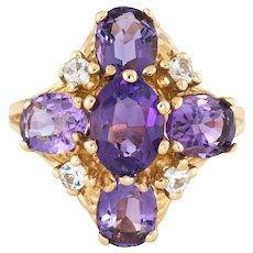 Vintage Amethyst Ring 14 Karat Yellow Gold Cluster Dome Estate Fine Jewelry Sz 7.5