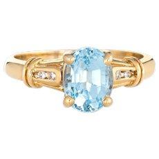 Blue Topaz Diamond Ring Vintage 14 Karat Yellow Gold Small Cocktail Jewelry Sz 5.5