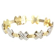 Estate 14 Karat Yellow White Gold X Cross Bracelet Fine Jewelry