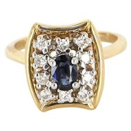 Vintage 14 Karat Yellow Gold Diamond Sapphire Cocktail Ring Fine Estate Jewelry