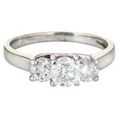 1ct Three Diamond Trilogy Ring Estate 14 Karat Gold Platinum Anniversary Jewelry 5.75