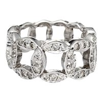 Diamond Circle Ring Vintage 14 Karat White Gold Estate Fine Jewelry 5.75 Wide Band
