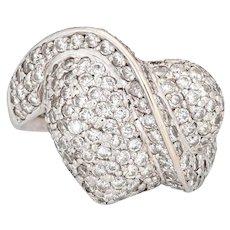 1.05ct Pave Diamond Heart Ring 14k White Gold Vintage Fine Estate Jewelry Sz 5.5