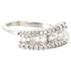 Estate 14 Karat White Gold Diamond Right Hand Band Ring Fine Jewelry Pre-Owned