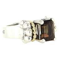 Estate Lagos Caviar 18 Karat Yellow Gold 925 Sterling Silver Quartz Glacier Cocktail Ring
