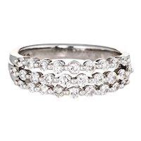 1ct Three Row Diamond Band Estate 14 Karat White Gold Stacking Ring Jewelry Sz 4.5