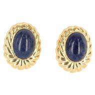 Vintage 14 Karat Yellow Gold Lapis Lazuli Large Oval Cocktail Earrings Estate