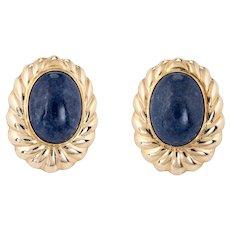 Vintage Sodalite Earrings 14 Karat Yellow Gold Large Oval Estate Fine Jewelry