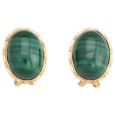 Vintage Malachite Earrings 14 Karat Yellow Gold Oval Estate Fine Jewelry Green