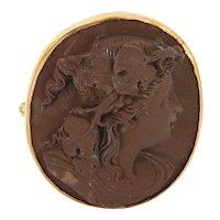 Victorian 14 Karat Rose Gold Lava Cameo Portrait Of Woman Brooch Pin Vintage